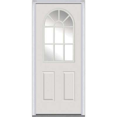 34 in. x 80 in. Right-Hand Inswing 11-Lite Clear Classic External Grilles Primed Fiberglass Smooth Prehung Front Door