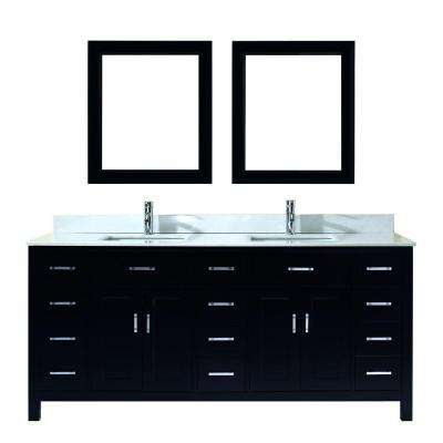 Kalize 75 in. Vanity in Espresso with Solid Surface Marble Vanity Top in Carrara White and Mirror