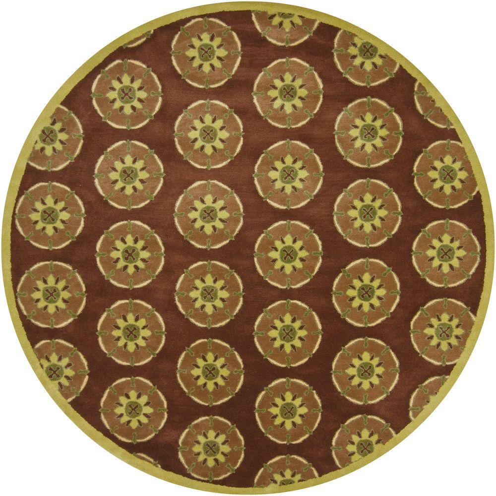 Chandra Dharma Brown/Lime 7 ft. 9 in. Round Area Rug