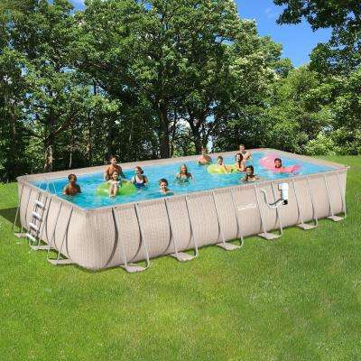 Light Wicker 12 ft. x 24 ft. Rectangular 52 in. Deep Metal Frame Above Ground Pool Package
