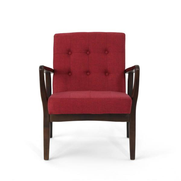 Noble House Marcola Mid-Century Modern Button Back Red Fabric Club Chair