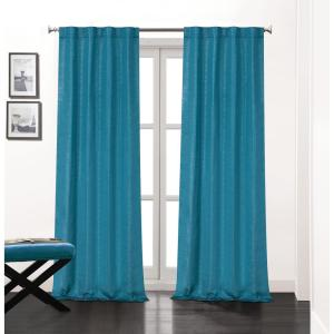 Soho 84 inch L Polyester Double Layer Lined Rod Pocket Window Curtain Panel Pair in Teal... by