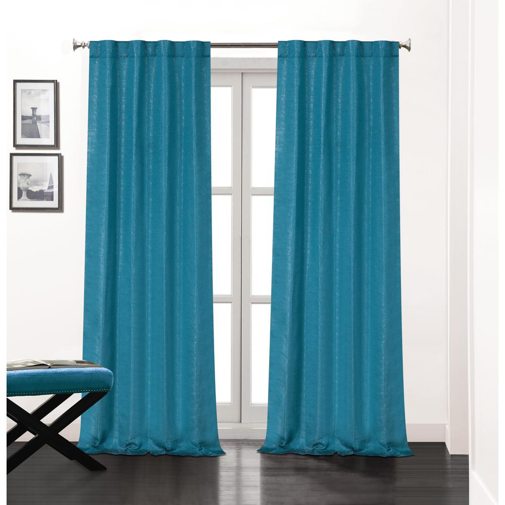 L Polyester Double Layer Lined Rod Pocket Window Curtain Panel Pair In Teal 2 Pack Sohorp84te The Home Depot