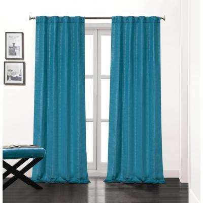 Soho 84 in. L Polyester Double Layer Lined Rod Pocket Window Curtain Panel Pair in Teal (2-Pack)