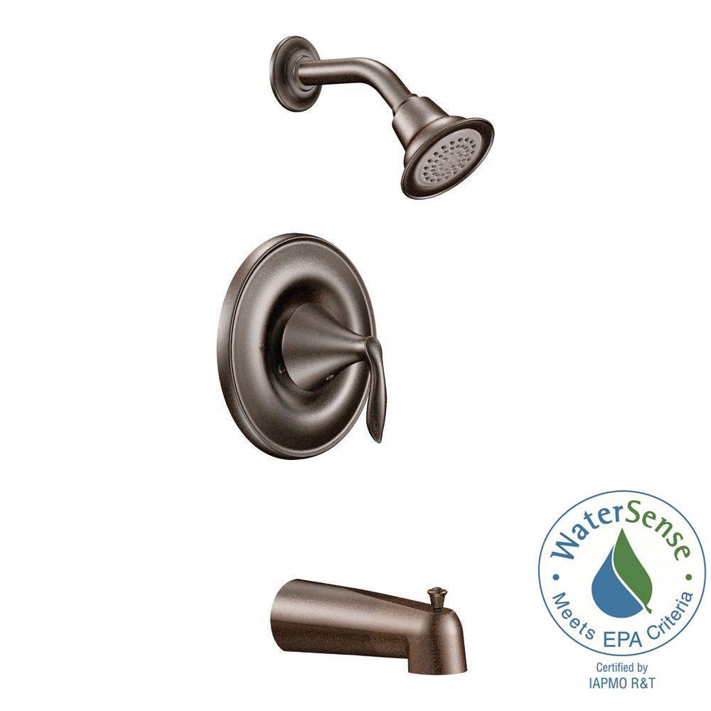 MOEN Eva 1-Handle Tub and Shower Trim Kit in Oil Rubbed Bronze ...