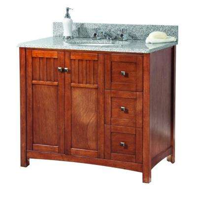Knoxville 37 in. W x 22 in. D Vanity in Nutmeg with Granite Vanity Top in Rushmore Grey with White Sink