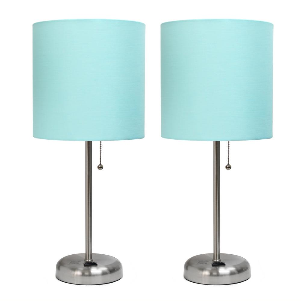 19.5 in. Brushed Steel Stick Lamp with Charging Outlet and Fabric Shade Aqua (2-Pack)