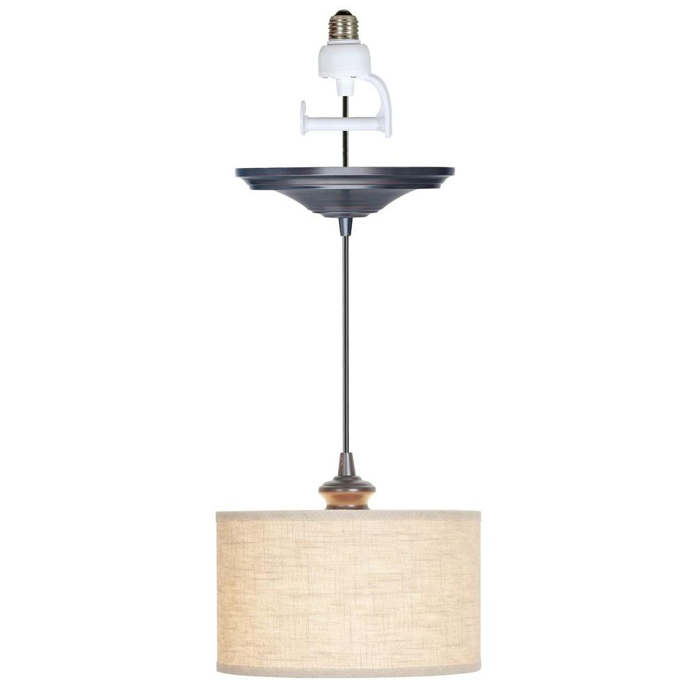 Worth Home Products Instant Pendant 1 Light Recessed Conversion Kit Brushed Bronze Linen Drum Shade