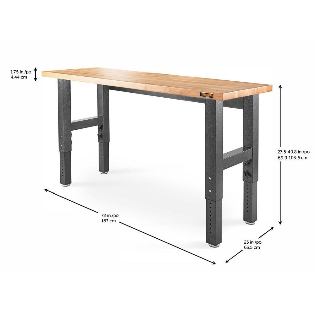 Awesome Gladiator 6 Ft Hardwood Top Adjustable Height Workbench In Hammered Granite Uwap Interior Chair Design Uwaporg