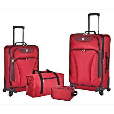 4-Piece Red Expandable Softside Luggage Set with Weekender Tote