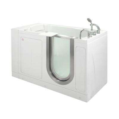 Petite 52 in. Acrylic Walk-In Whirlpool Bathtub in White with Thermostatic Faucet Set, Right 2 in. Dual Drain