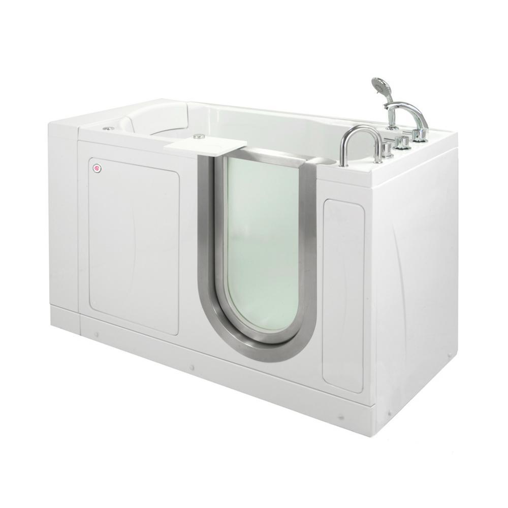 Petite 52 in. Acrylic Walk-In MicroBubble Air Bath Bathtub in White, Thermostatic Faucet, Heated Seat, RHS Dual Drain
