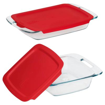 Easy Grab 3 qt. and 8 in. x 8 in. 4-Piece Glass Bakeware Set with Red Lids