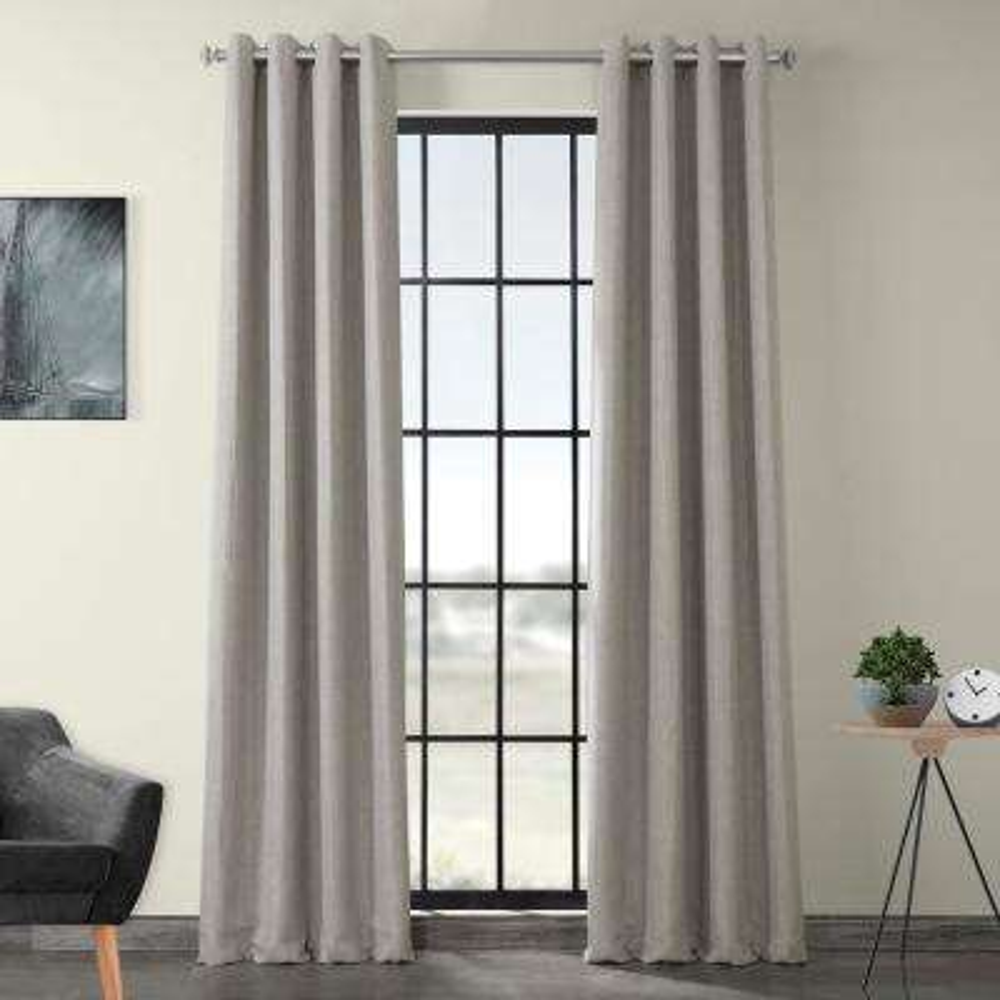 Clay Beige Faux Linen Grommet Blackout Curtain - 50 in. W x 120 in. L