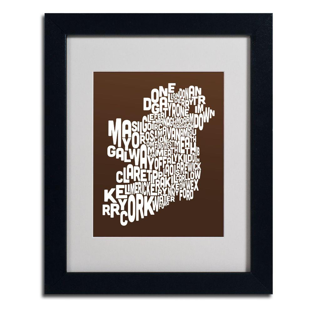 11 in. x 14 in. Ireland Text Map - Chocolate Matted