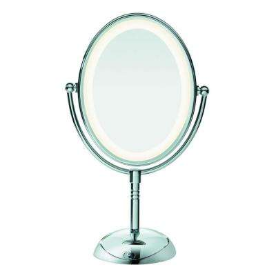 7X/1X Oval LED Lighting Double Sided Makeup Mirror in Chrome