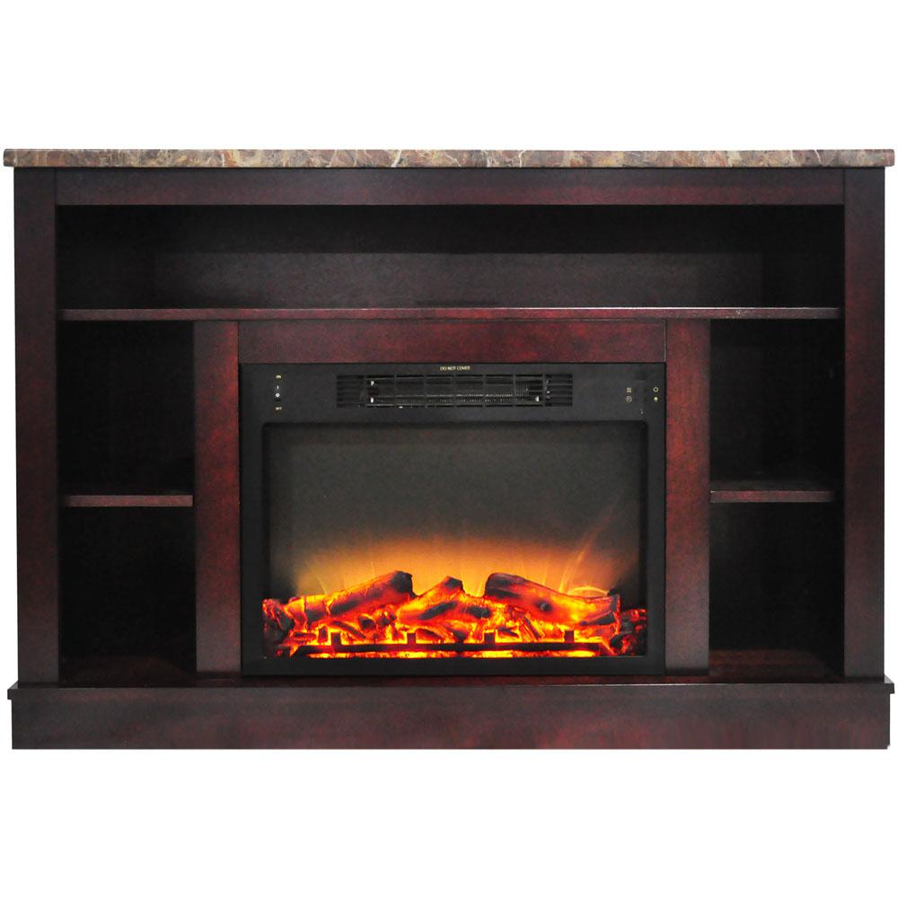 47 in. Electric Fireplace with Enhanced Log Insert and Mahogany Mantel