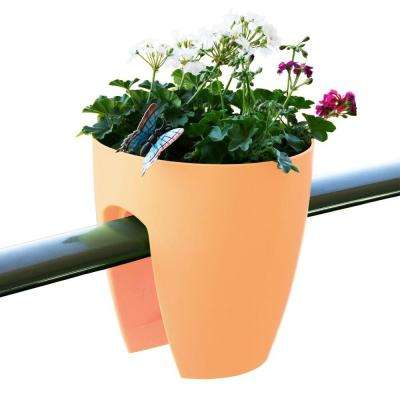 11.4 in. x 11.8 in. x 11.4 in. Off-White Plastic Railing and Deck Planter (2 pack)