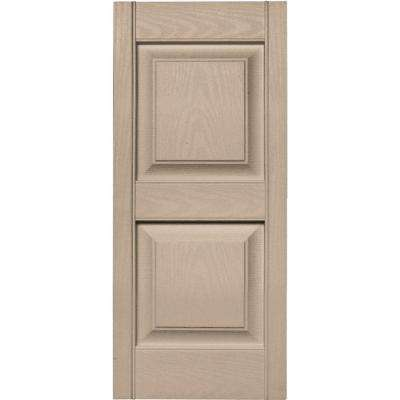 15 in. x 35 in. Raised Panel Vinyl Exterior Shutters Pair in #023 Wicker