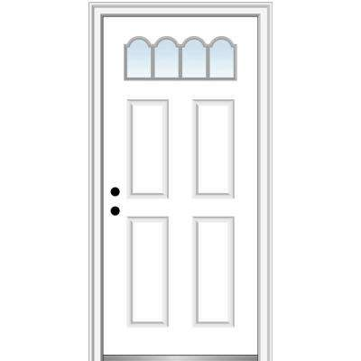 32 in. x 80 in. Classic Right-Hand Inswing 1/4-Lite 4-Panel Clear Primed Steel Prehung Front Door on 4-9/16 in. Frame