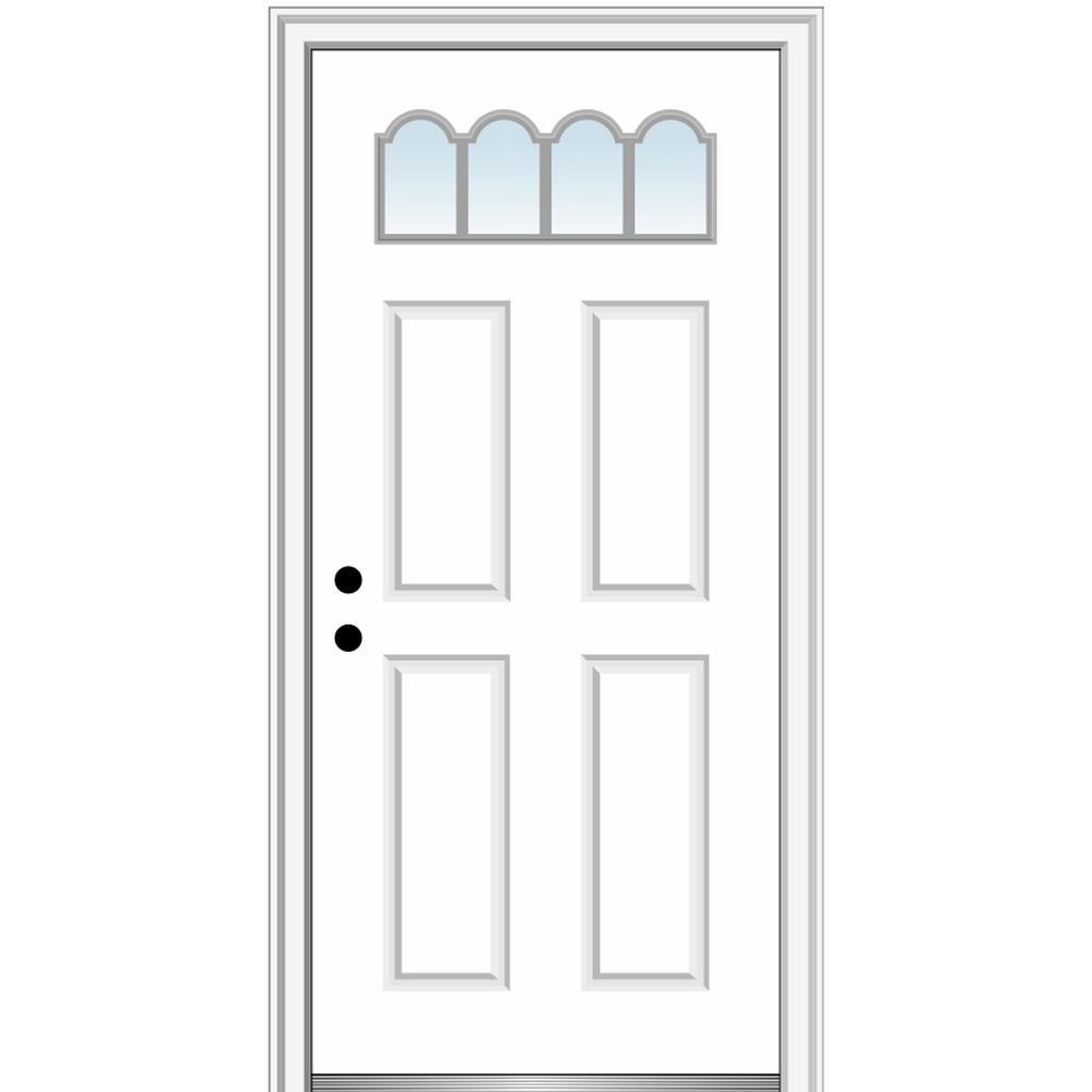 MMI Door 34 in. x 80 in. Classic Right-Hand Inswing 1/4-Lite 4-Panel Clear Primed Steel Prehung Front Door on 4-9/16 in. Frame