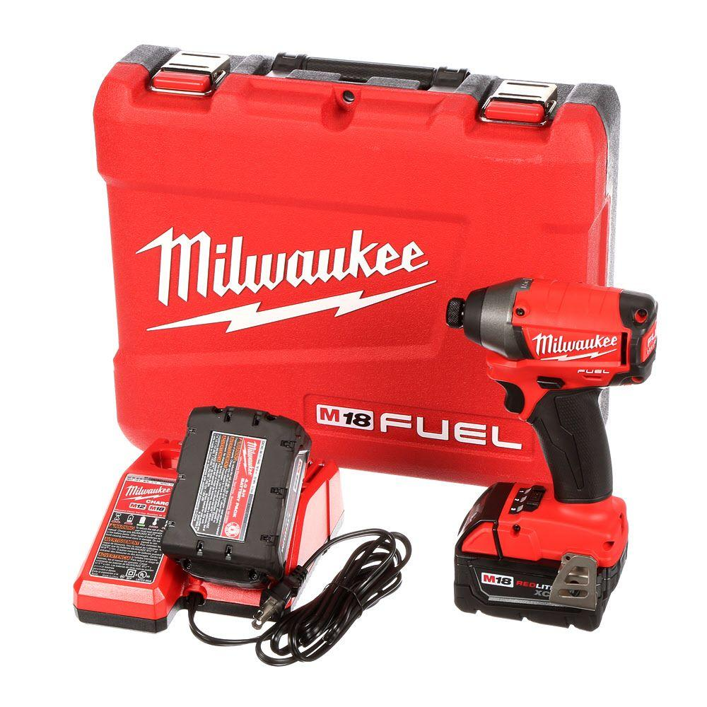 Milwaukee M18 FUEL 18-Volt Brushless Lithium-Ion 1/4 in. Hex Impact Driver XC Battery Kit