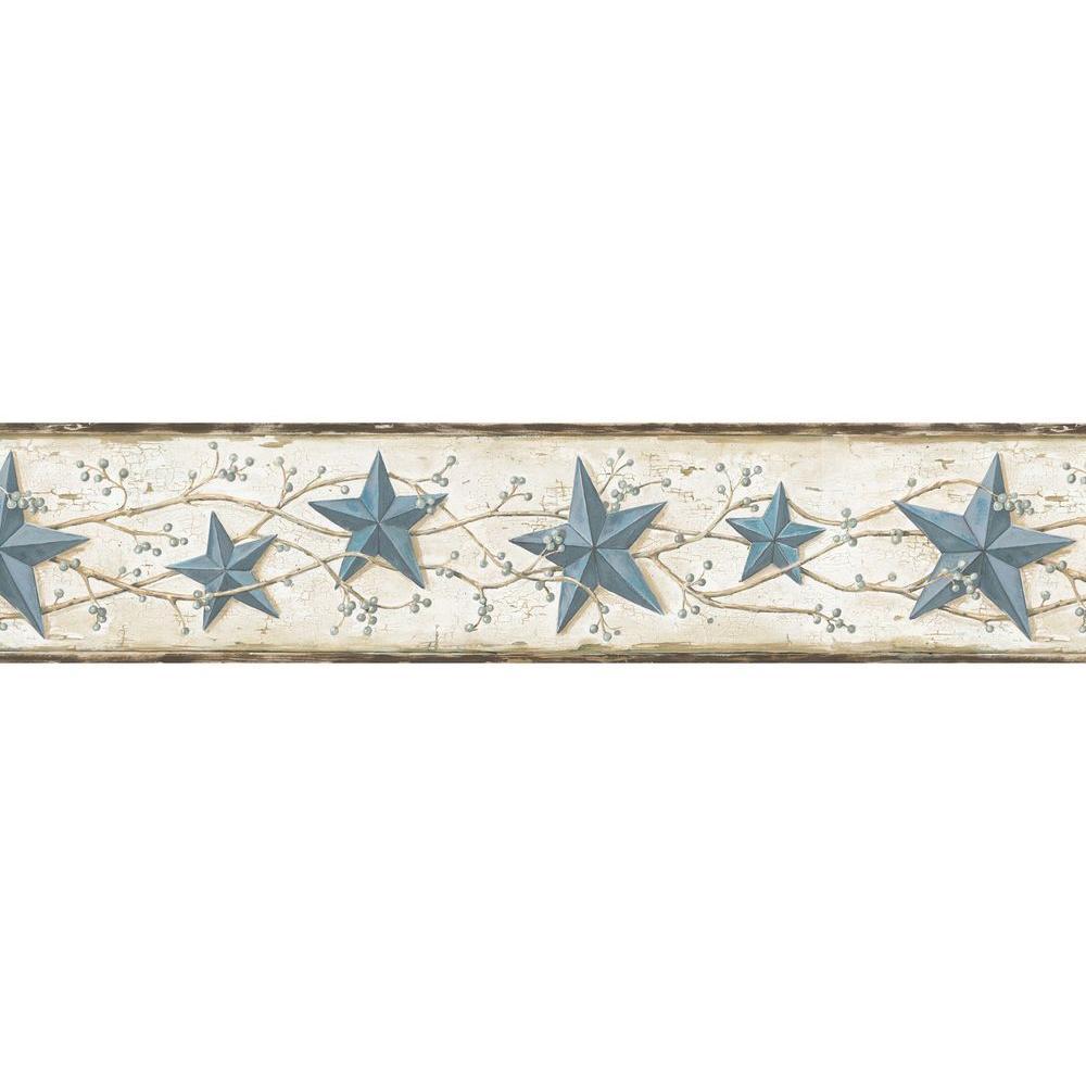 Chesapeake June Heritage Tin Star Wallpaper Border, Blue
