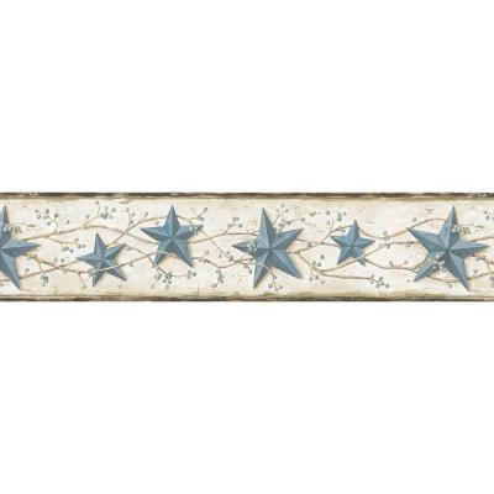 June Blue Heritage Tin Star Wallpaper Border Sample
