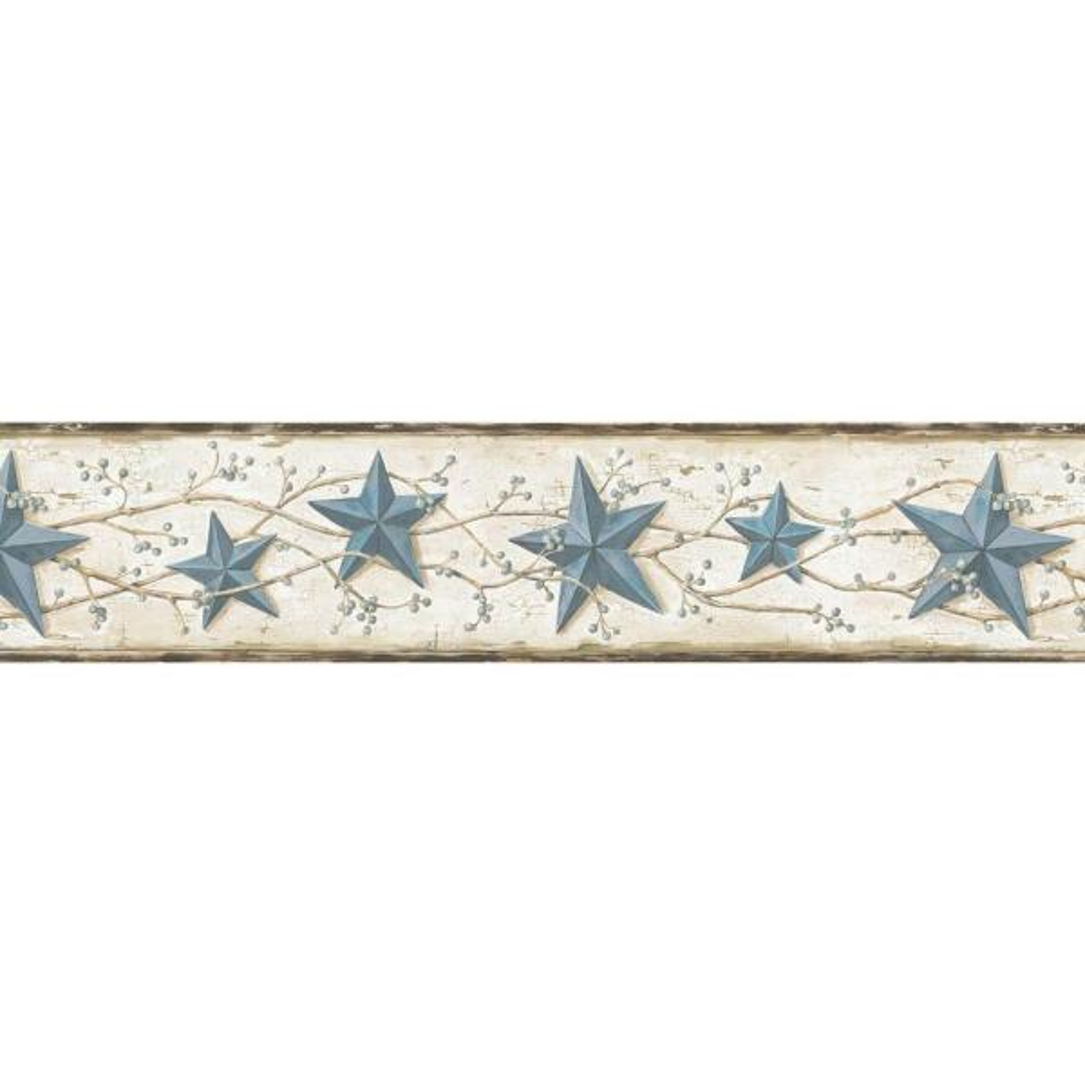 June Blue Heritage Tin Star Blue Wallpaper Border Sample