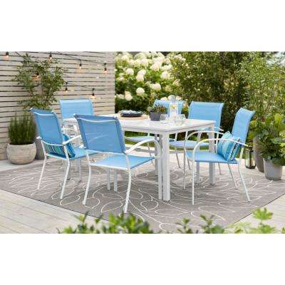 Mix and Match White Stackable Sling Outdoor Dining Chair in Periwinkle (2-Pack)
