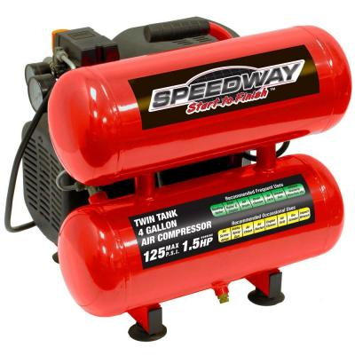4 Gal. 1.5 HP Twin-Stack Oil Lube Electric Air Compressor