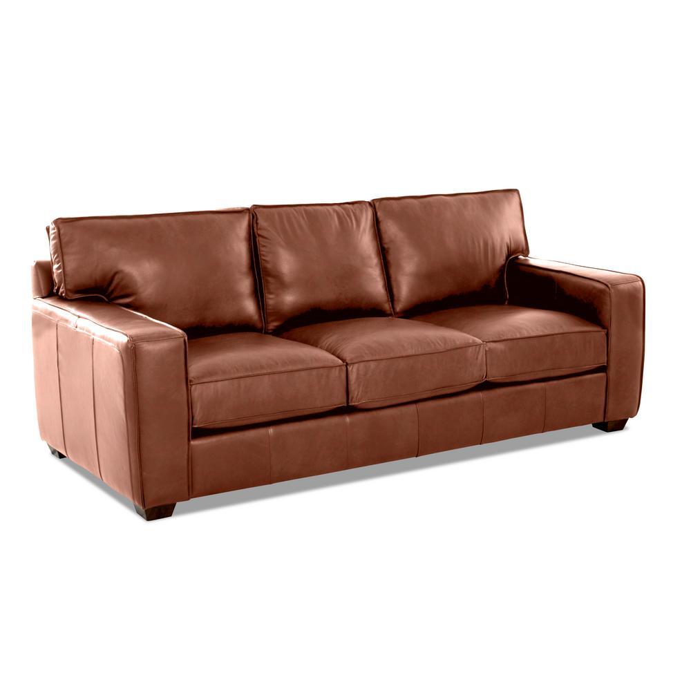 Drake Leather Down Blend Sofa in Chestnut