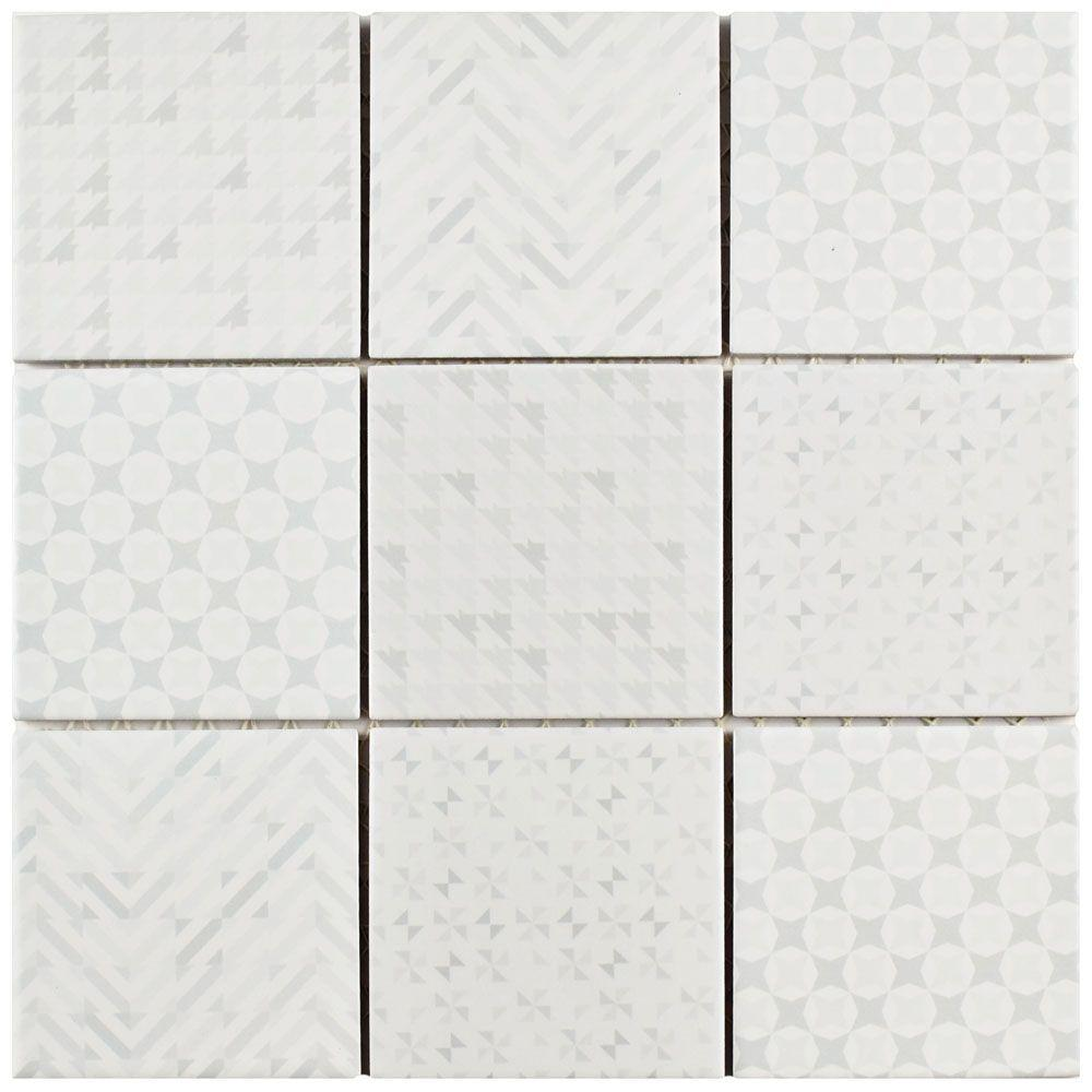 Merola Tile Geobright White 11-5/8 in. x 11-5/8 in. x 6 mm Porcelain ...