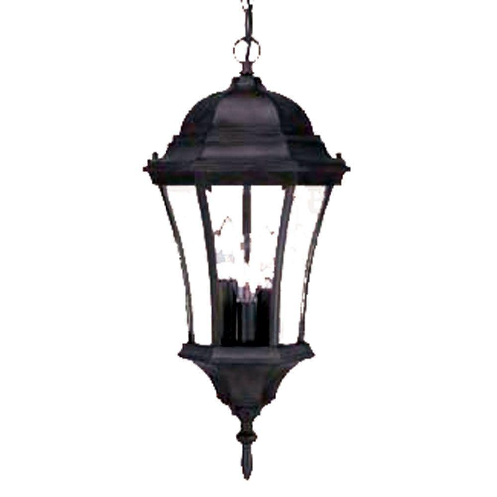 Brynmawr Collection 3-Light Outdoor Matte Black Hanging Lantern Light Fixture