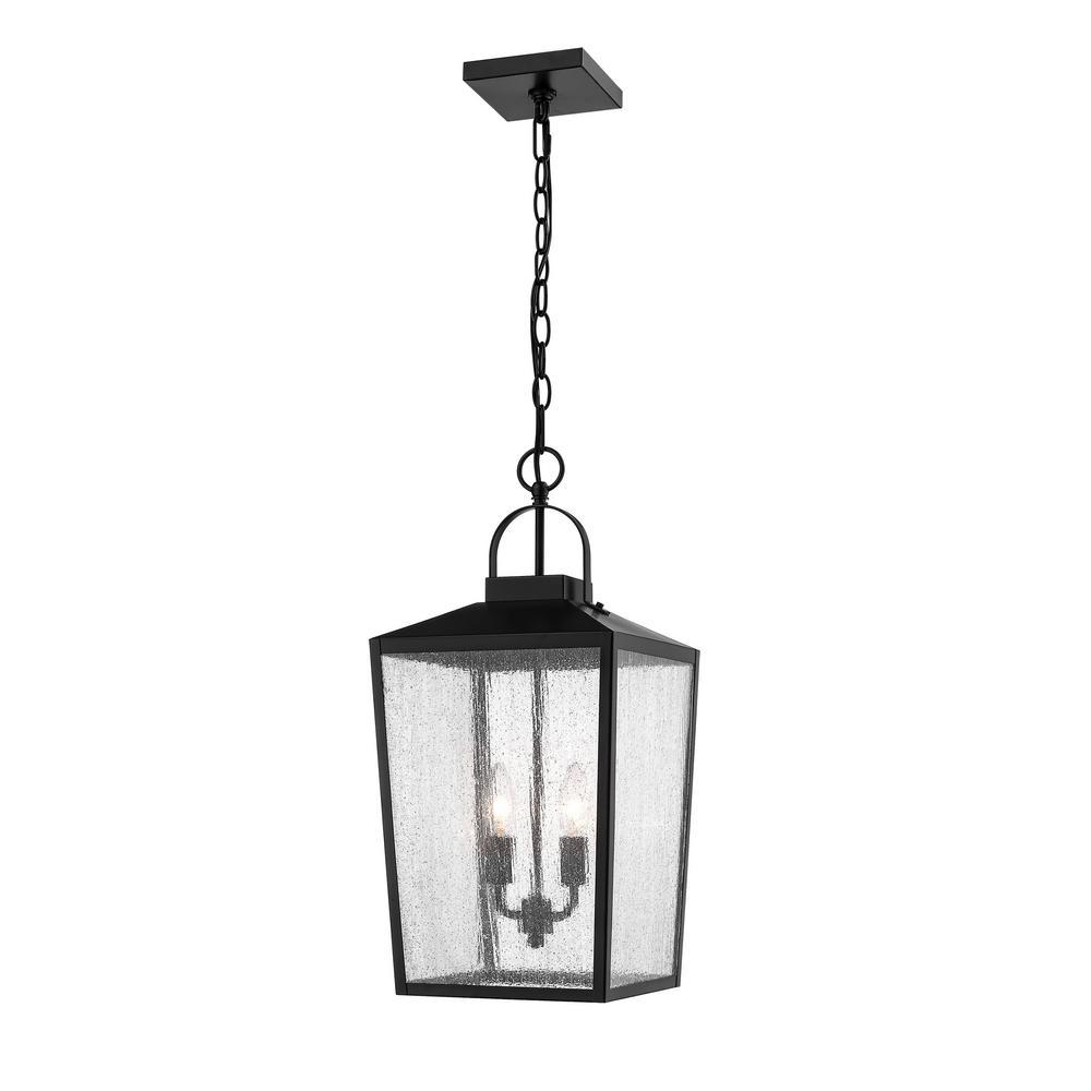 2-Light 12 in. Powder Coat Black Outdoor Lantern Pendant