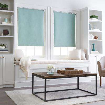 Cut to Width Collins Seafoam Room-Darkening Cordless Roller Shade 34 in. W x 64 in. L