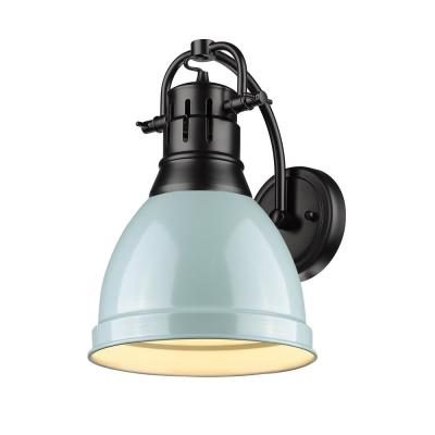 Duncan Collection 1-Light Black Sconce with Seafoam Shade