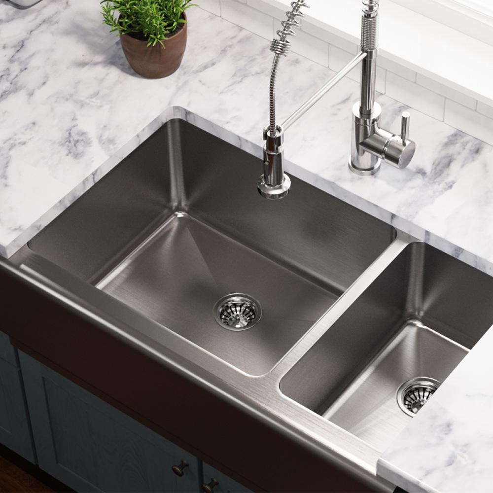 MR Direct Farmhouse Apron Front Stainless Steel 33 in. Double Bowl Kitchen  Sink