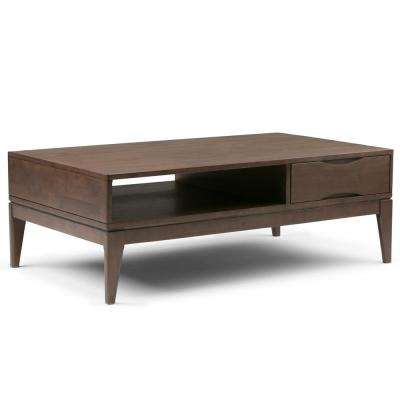 Harper Walnut Brown Built-In Storage Coffee Table