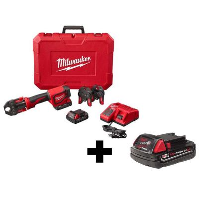 M18 18-Volt Lithium-Ion Cordless Short Throw Press Tool Kit with 3 PEX Crimp Jaws (3) 2.0 Ah Batteries and Charger
