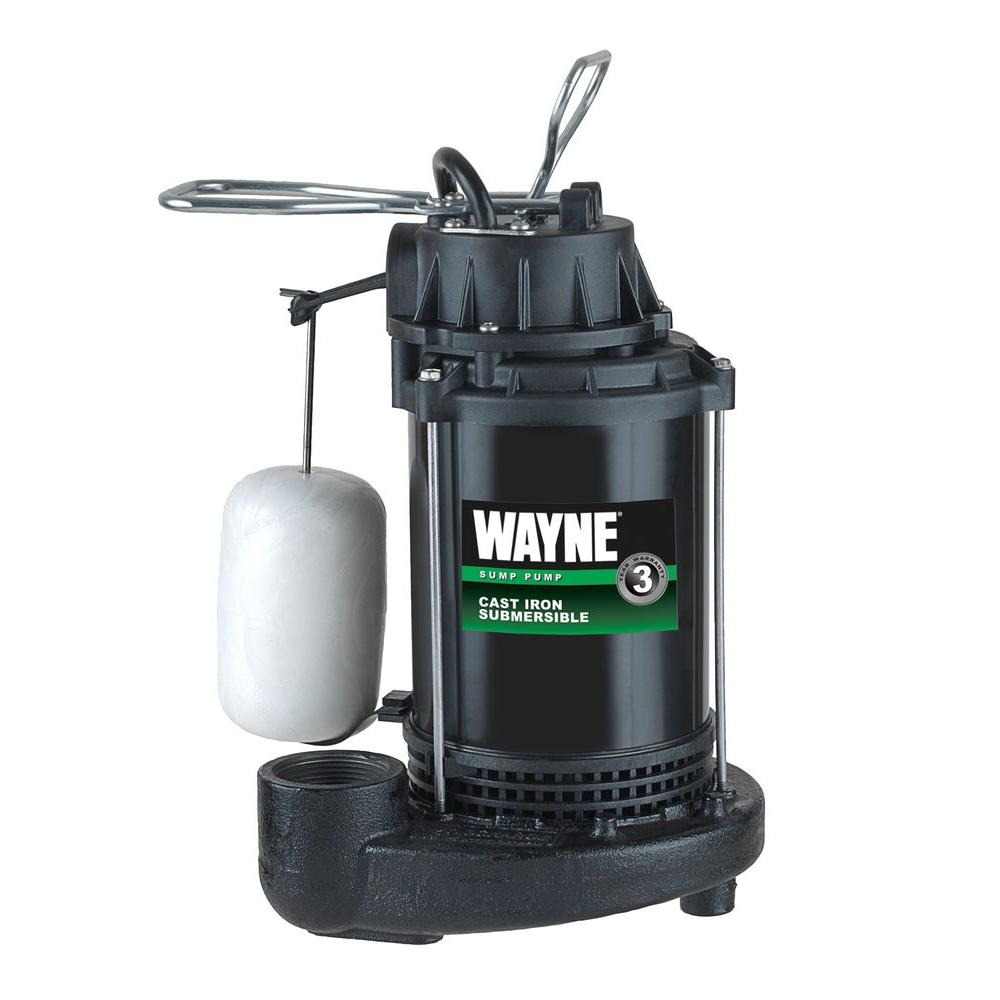 Wayne 1/3 HP Cast Iron Submersible Sump Pump with Vertical Float Switch