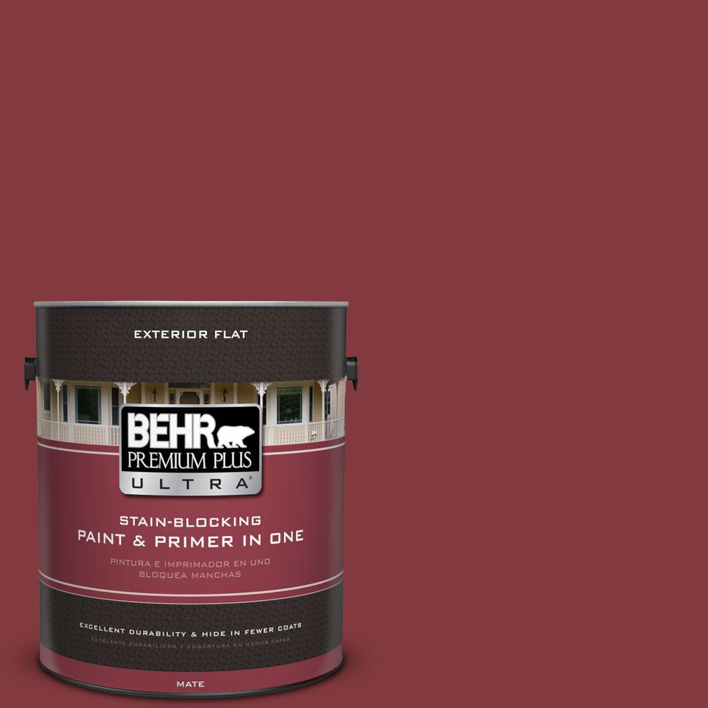 BEHR Premium Plus Ultra 1-gal. #S-H-130 Red Red Wine Flat Exterior Paint