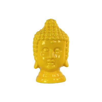 9.75 in. H Buddha Decorative Sculpture in Yellow Gloss Finish