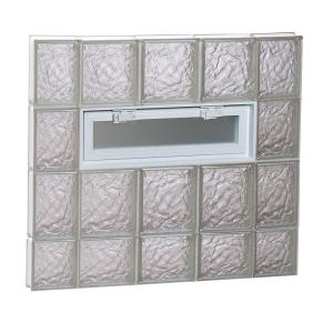 34.75 in. x 29 in. x 3.125 in. Frameless Ice Pattern Vented Glass Block Window