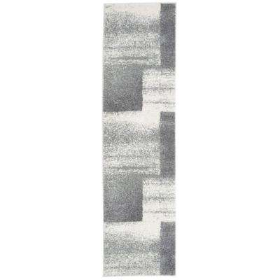 Contemporary Distressed Boxes Design Ultra Soft Fluffy Shag Gray 2 ft. x 7 ft. Runner Rug