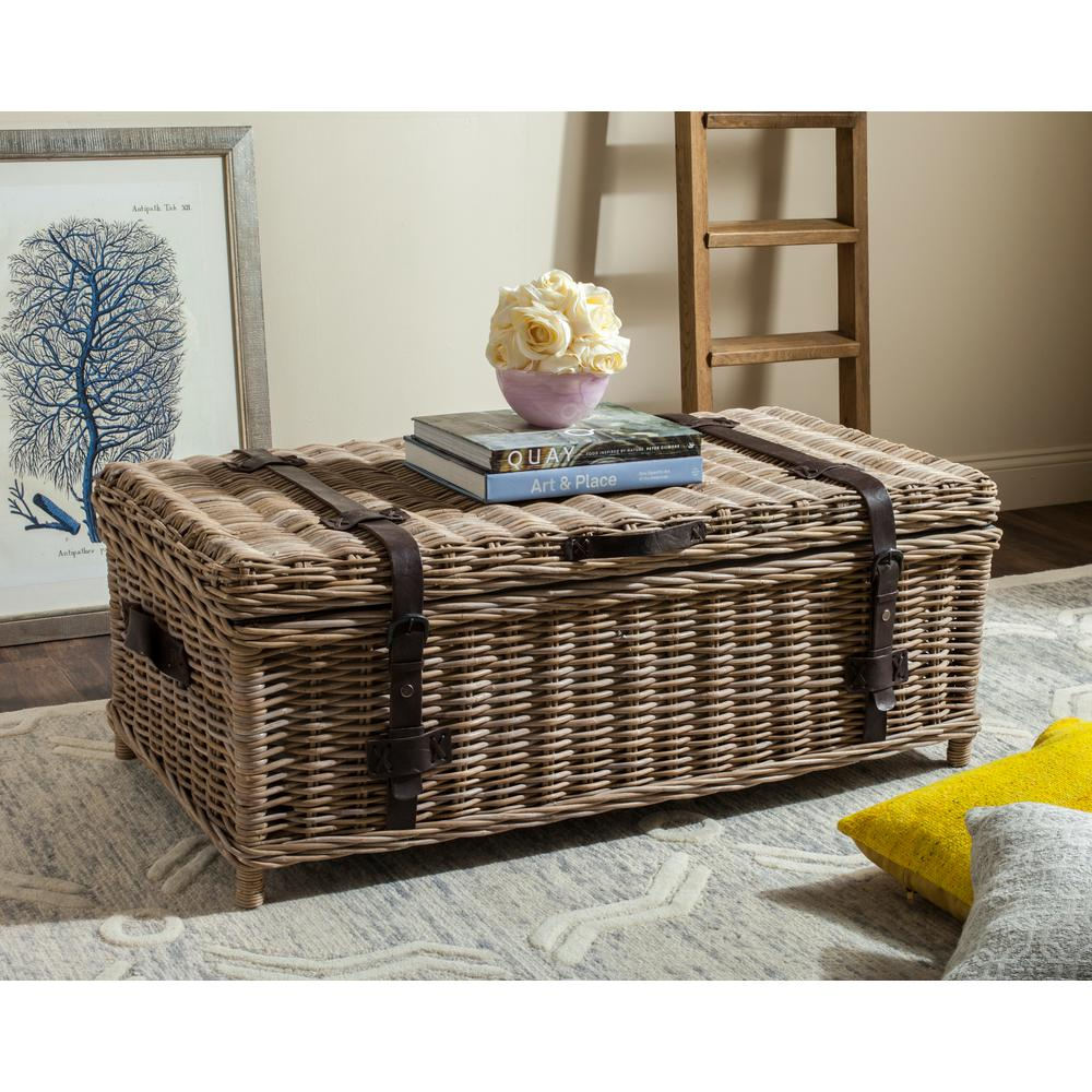 Beige Trunk Coffee Table: Safavieh Navarro Rattan Gray Coffee Table Trunk-SEA7022B