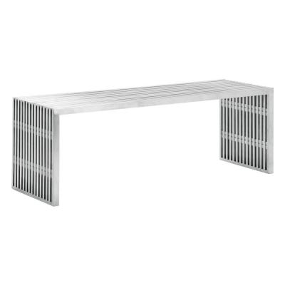 Novel Brushed Stainless Steel Double Bench