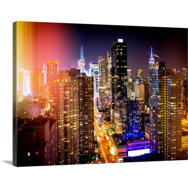 Greatbigcanvas New York City Cityscape At Night By Philippe Hugonnard Canvas Wall Art 2377678 24 40x30 The Home Depot