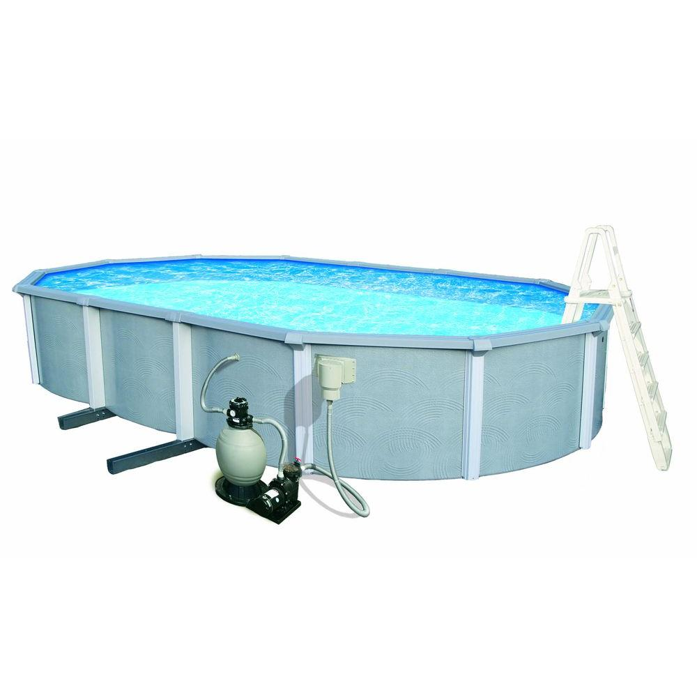 Blue Wave Zanzibar 15 ft. x 30 ft. Oval 54 in. Deep 8 in. Top Rail Metal Wall Swimming Pool Package