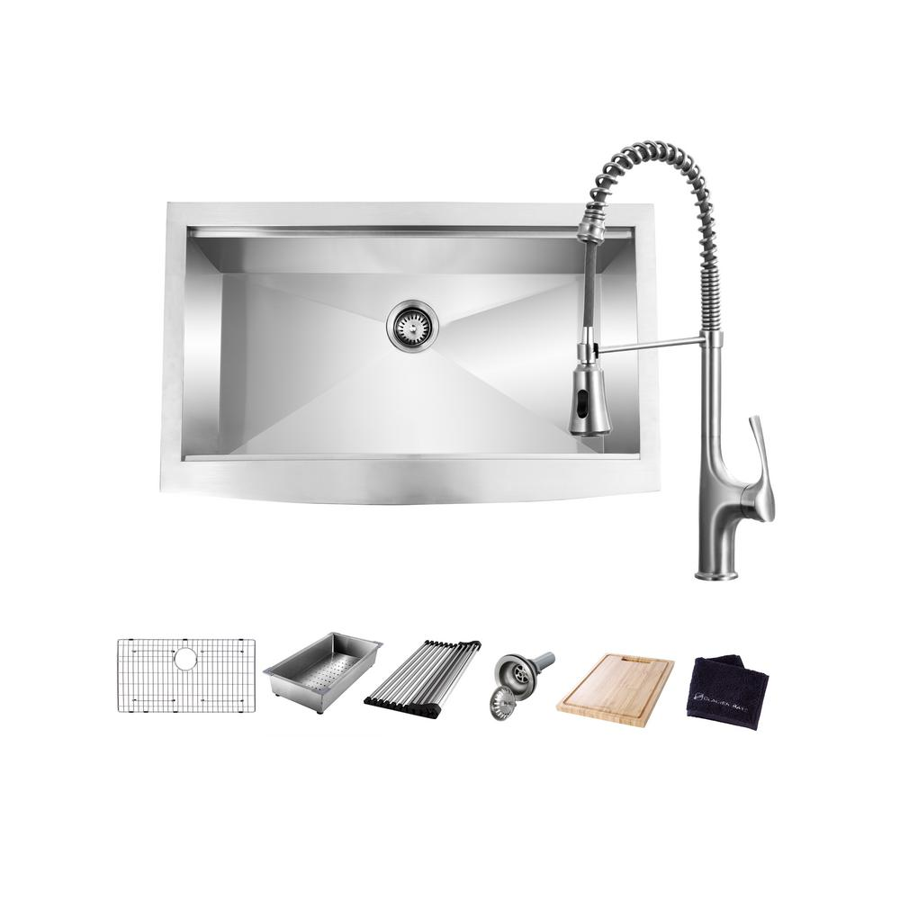 Glacier Bay All-in-One Apron-Front Farmhouse Stainless Steel 33 in. Single Bowl Workstation Sink with Faucet and Accessories